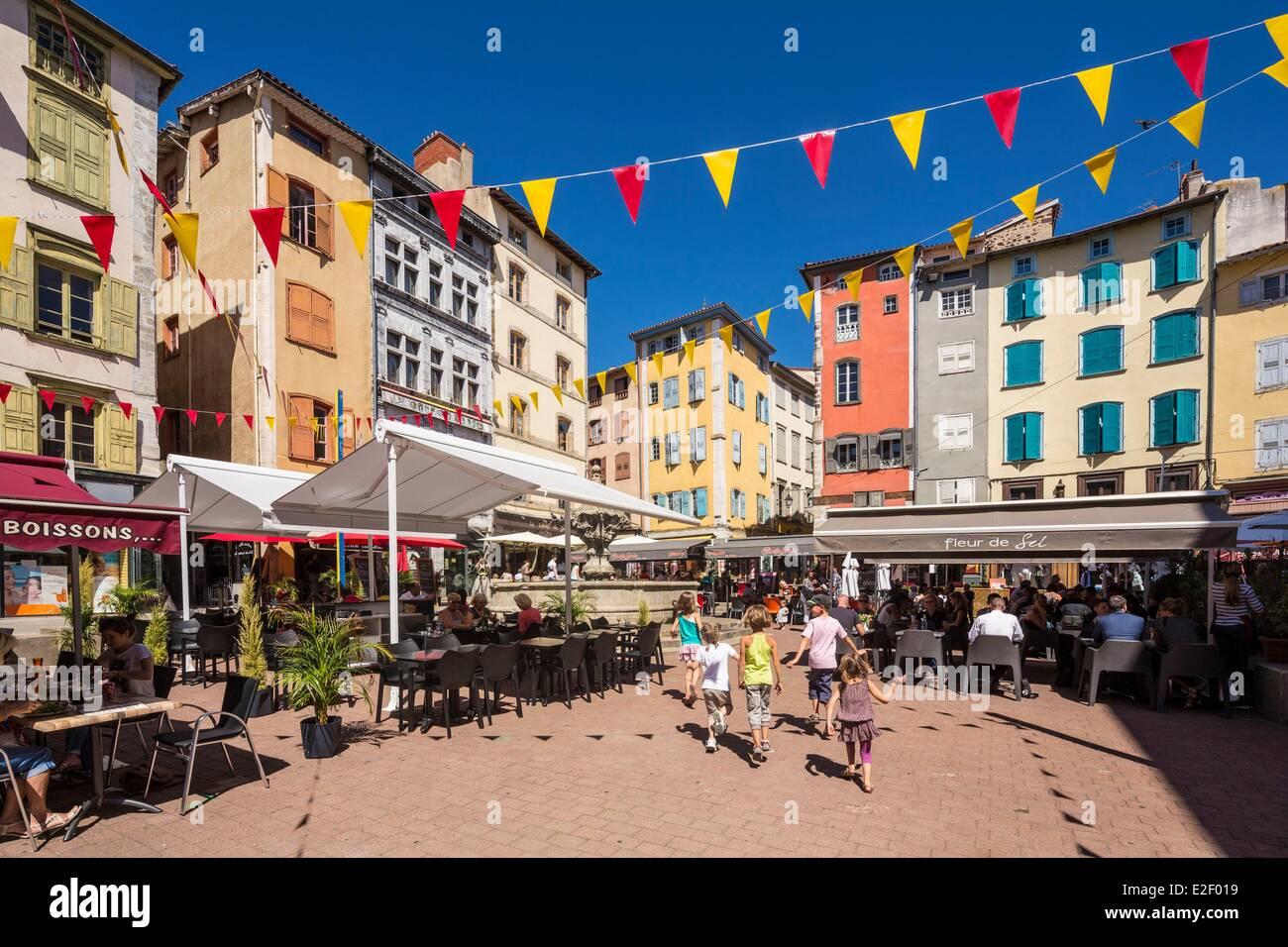 France, Haute Loire, Le Puy en Velay, a stop on el Camino de Santiago, place du Plot, starting point of the Via - Stock Image