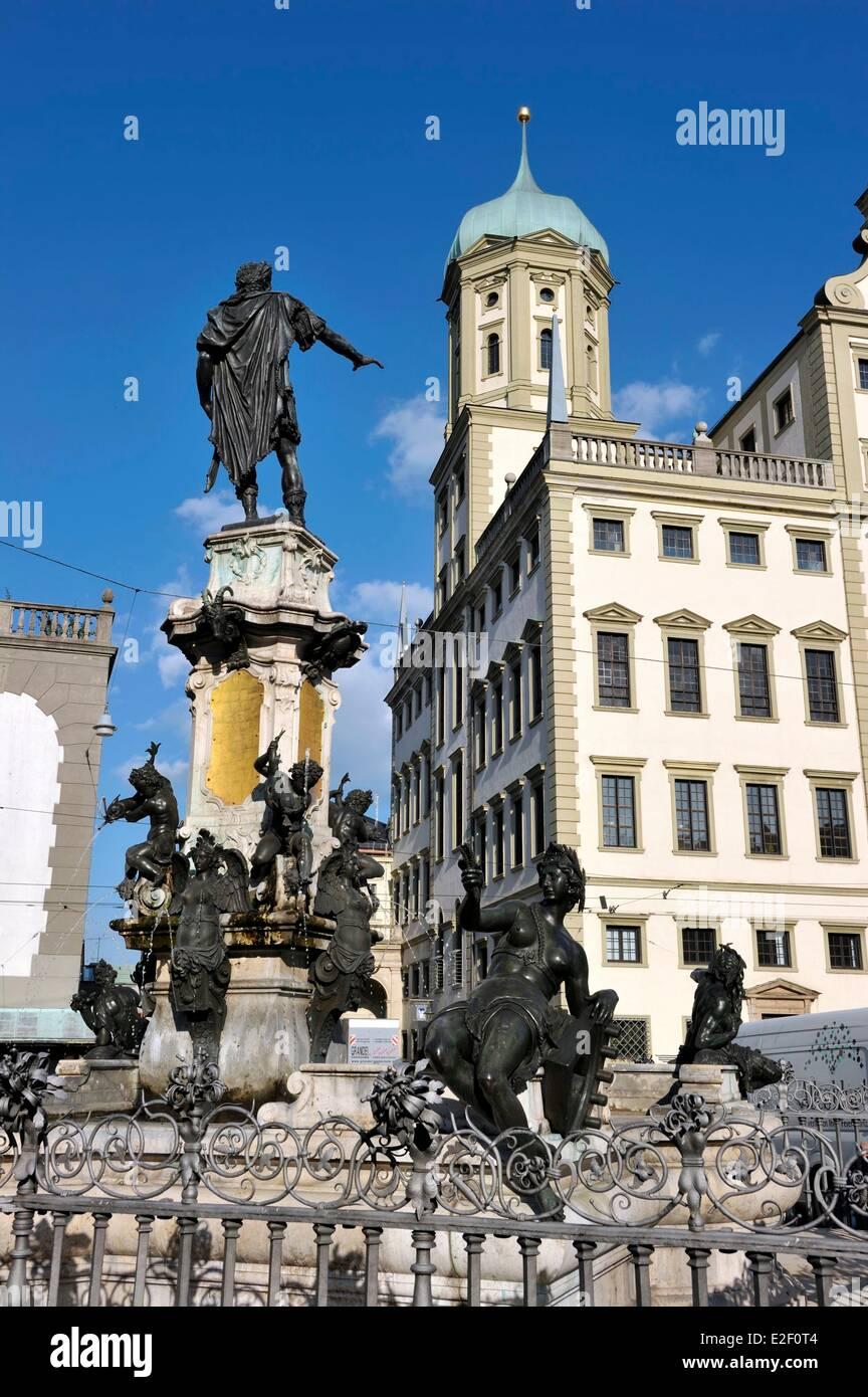 Germany, Bavaria, Augsburg, Rathausplatz, Rathaus - Stock Image