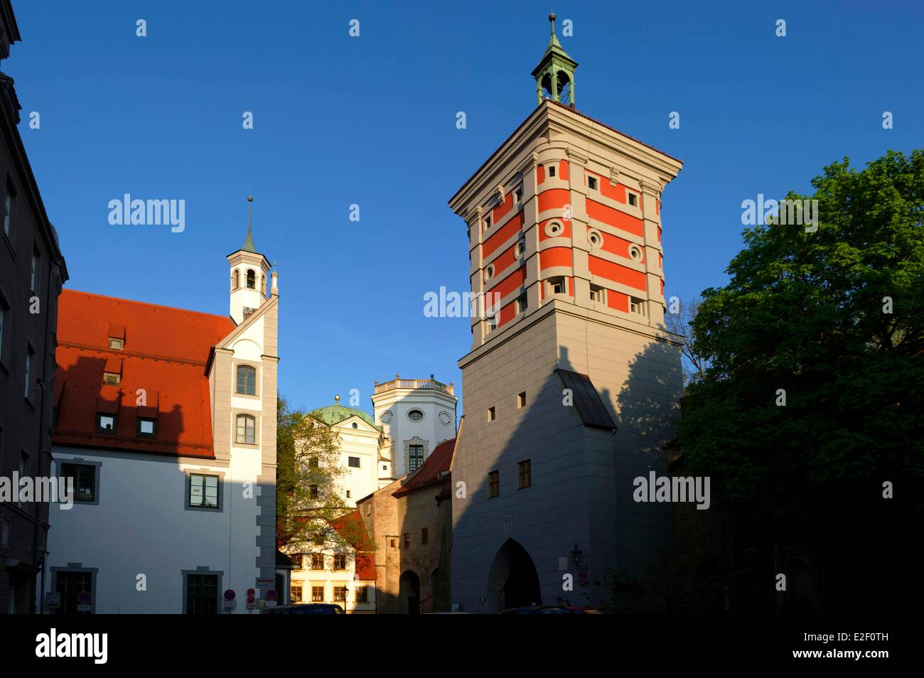 Germany, Bavaria, Augsburg, Rotes Tor (Red gate) - Stock Image