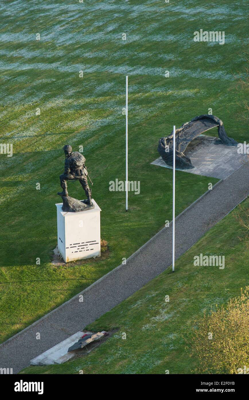 France Manche Sainte Mere Eglise strategic location on landing in 1944 where now stands the Memorial Park paratroopers - Stock Image