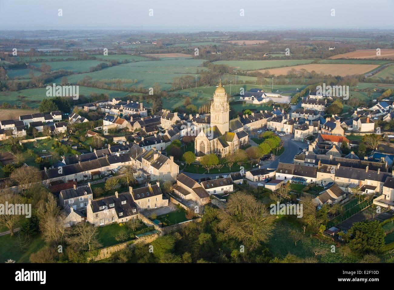 France, Manche, Sainte Marie du Mont (aerial view) Stock Photo