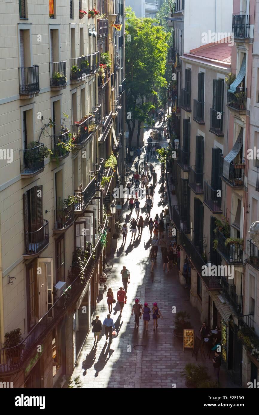 Spain, Catalonia, Barcelona, La Ribera district, old city (Ciutat Vella) - Stock Image