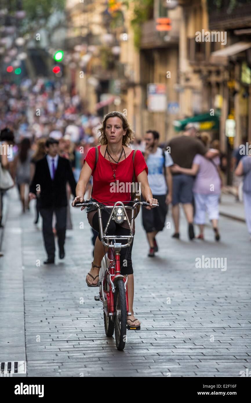 Spain, Catalonia, Barcelona, Las Ramblas, the pedestrian street Ferran - Stock Image