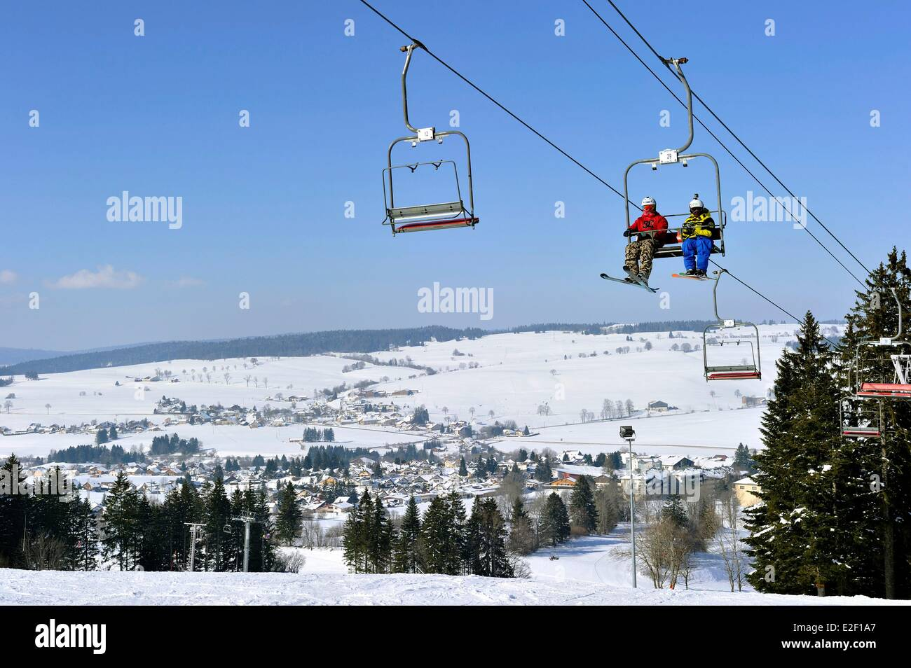 France, Doubs, Metabief, Mont d'Or winter sport station - Stock Image