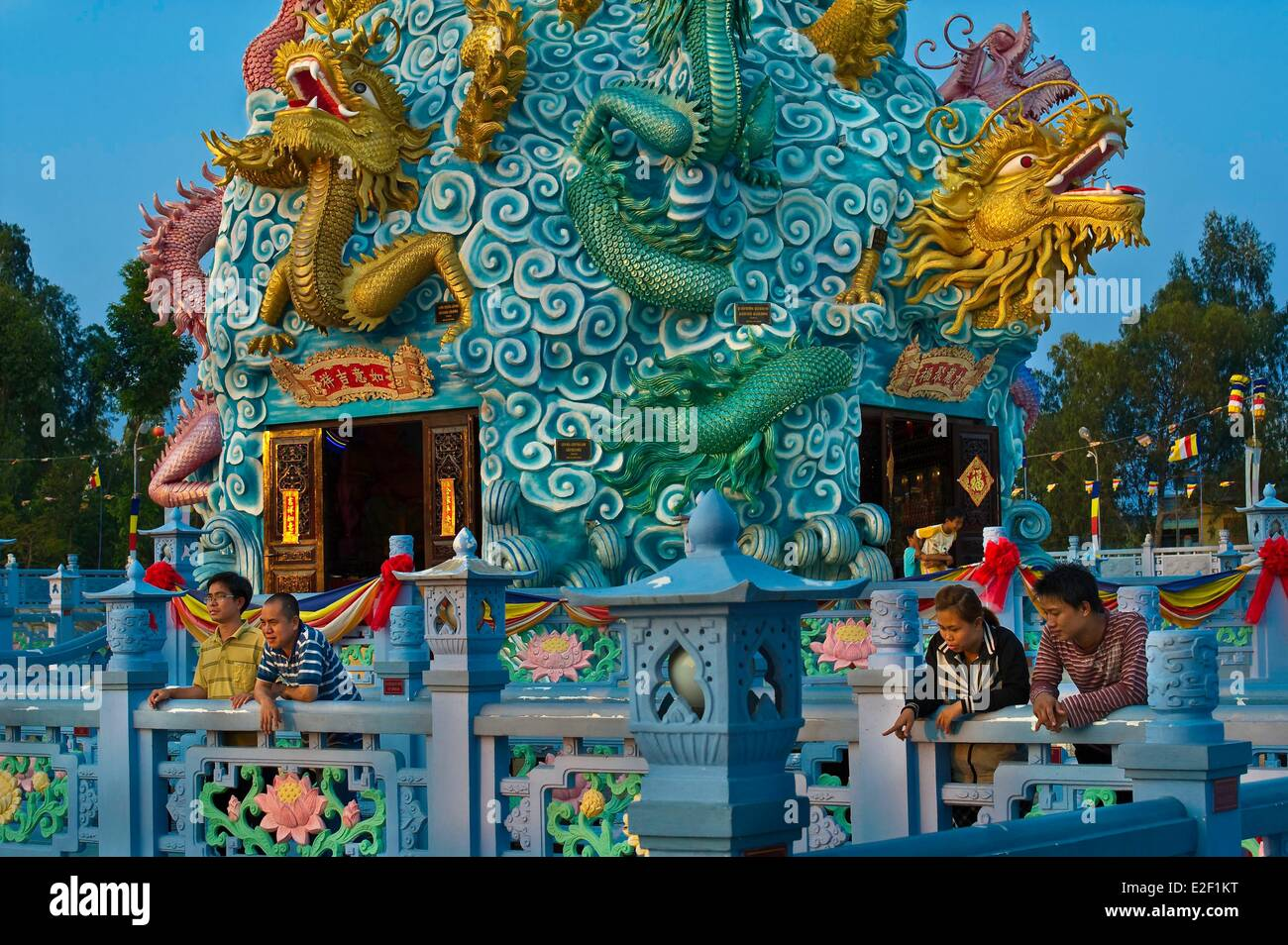 Vietnam An Giang Province Chau Doc Thien Khai Huynh Dao Buddhist temple symbolizing the Mekong river the river of - Stock Image