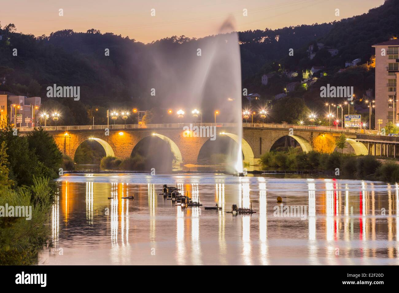 France, Gard, Ales, water jet on the Gardon and preparations of fireworks - Stock Image
