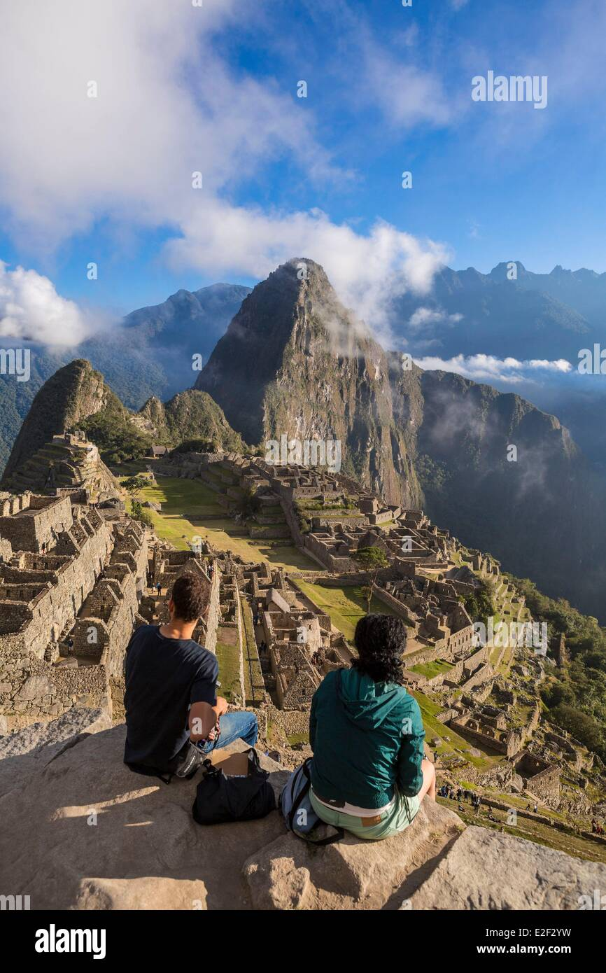 Peru Cuzco Province the Sacred Valley of the Incas Inca archaeological site of Machu Picchu listed as World Heritage - Stock Image