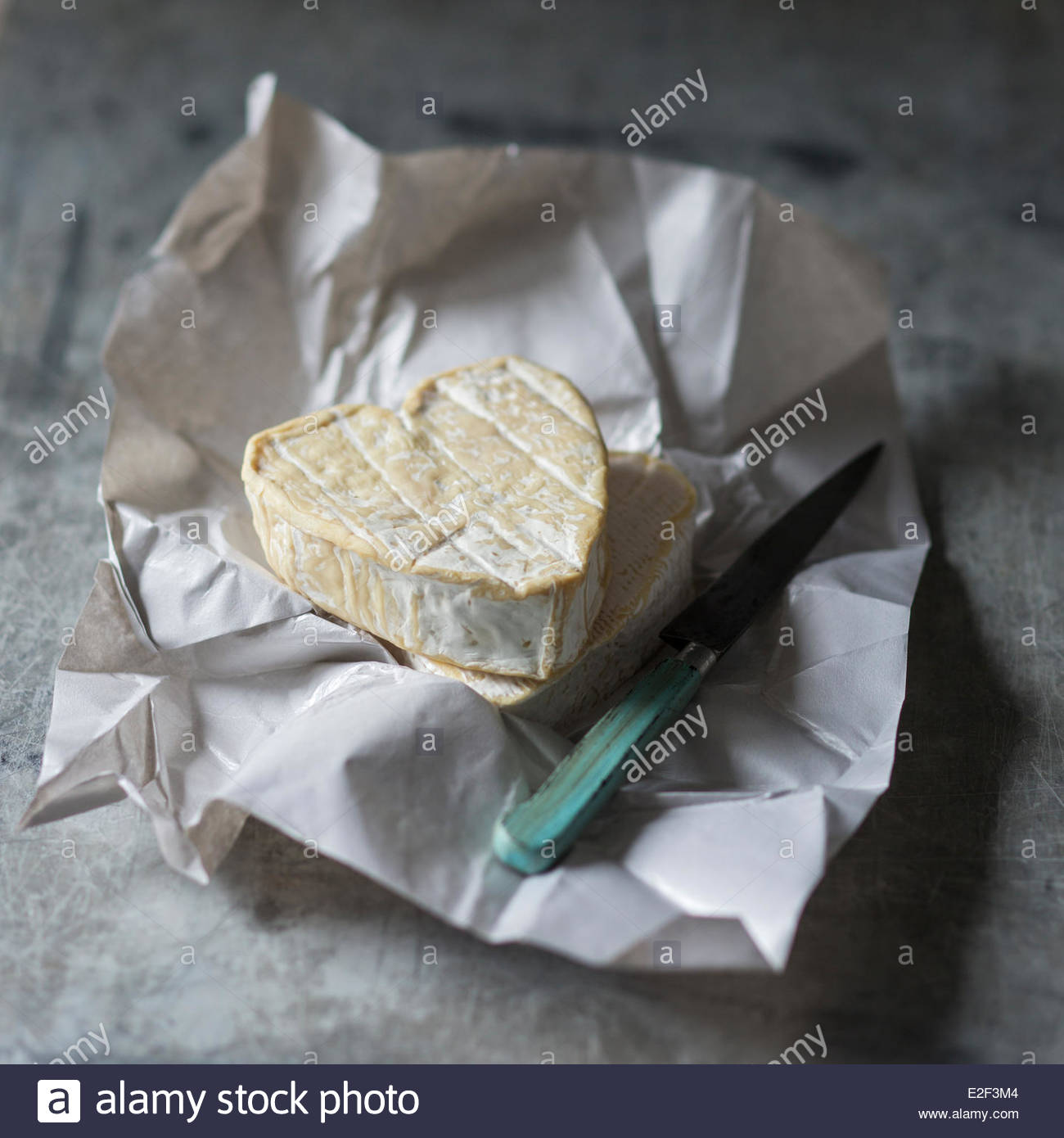 France Seine Maritime Neufchatel en Bray Neufchatel is a soft slightly crumbly mould ripened cheese made in the - Stock Image