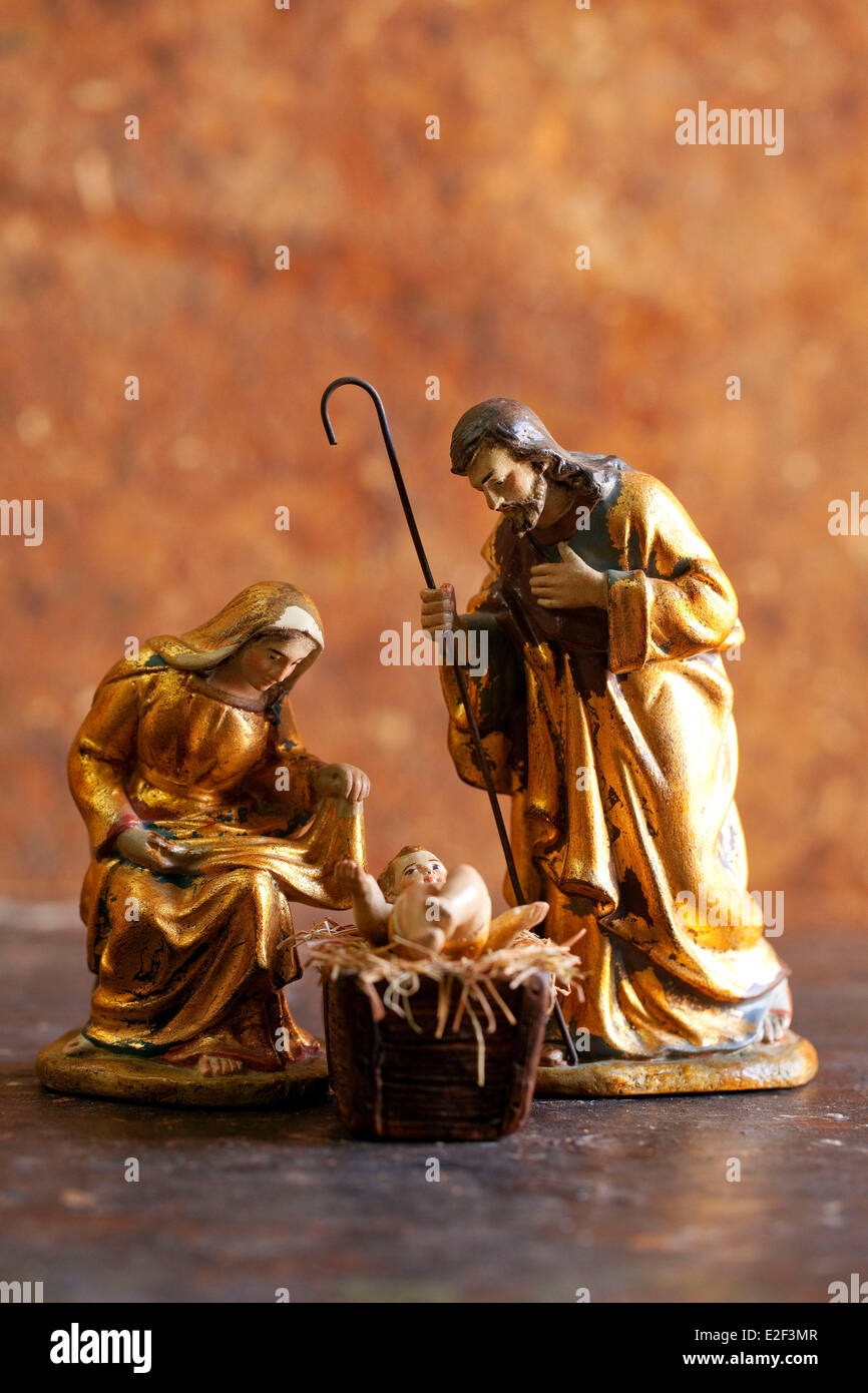 France, Bouches du Rhone, anonymous figurines, nativity, private collection - Stock Image
