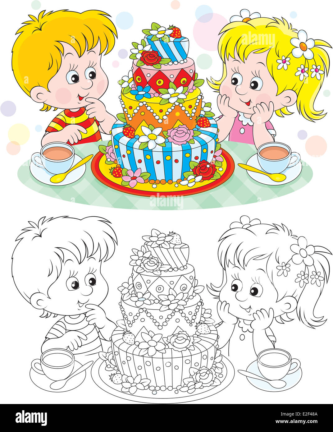 Little Girl And Boy With A Big Birthday Cake