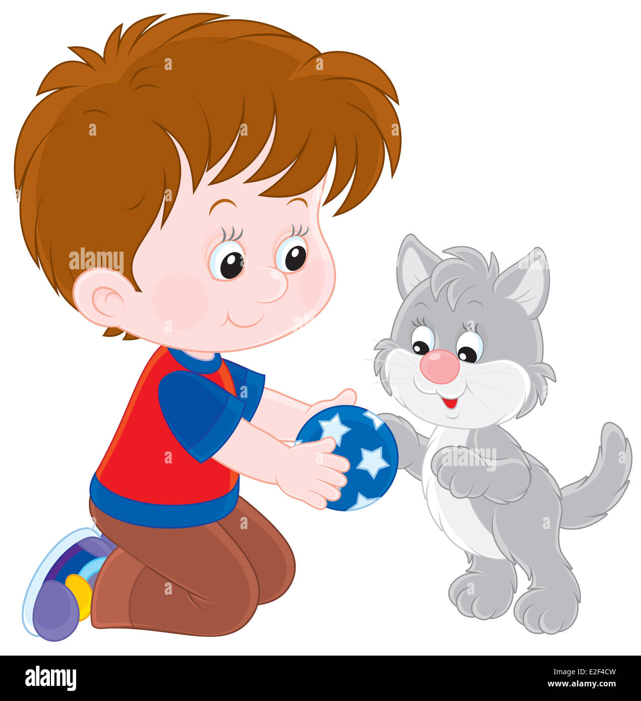 Little boy playing with his gray kitten - Stock Image