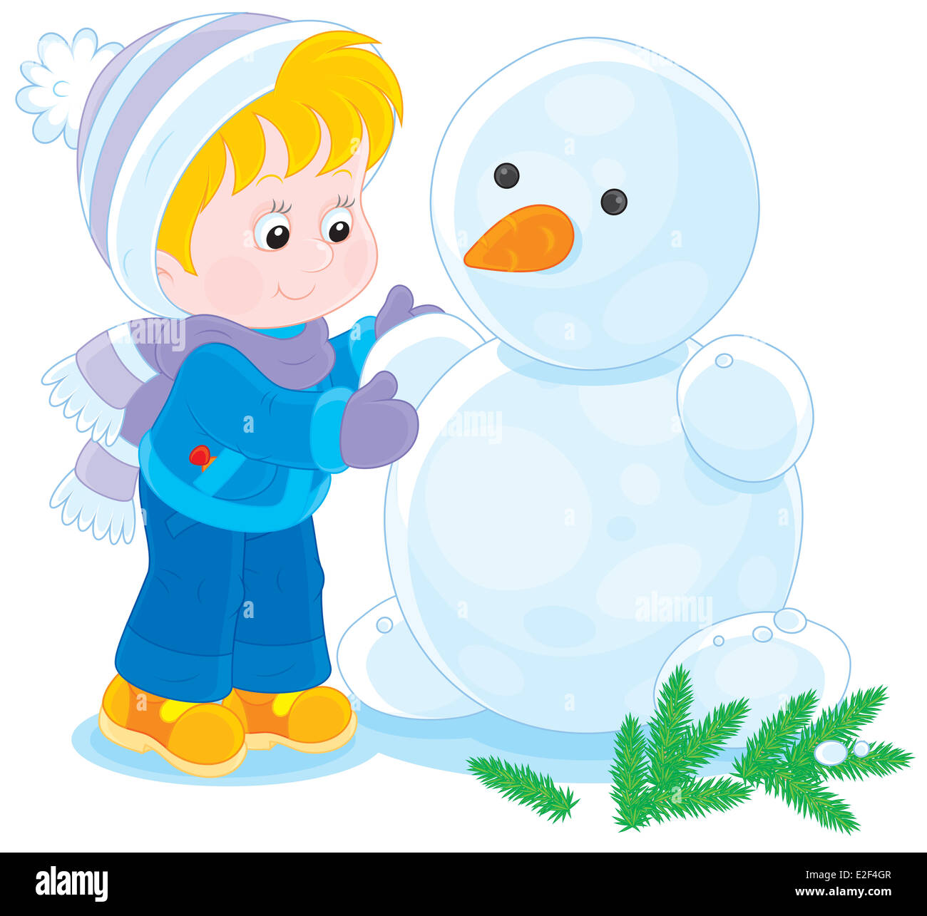 Little boy or girl making a funny snowman - Stock Image