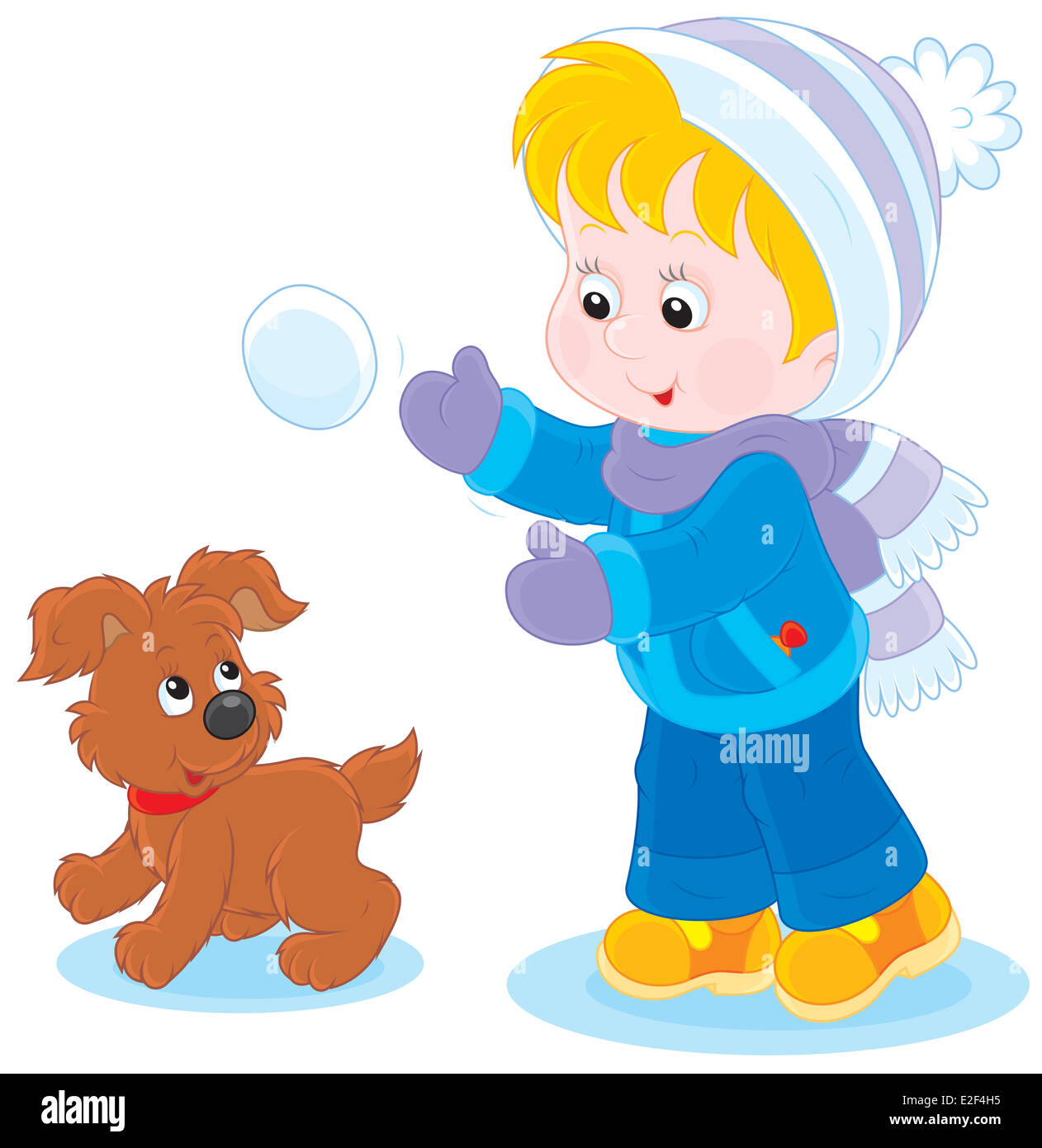 Little boy or girl and puppy playing snowballs - Stock Image