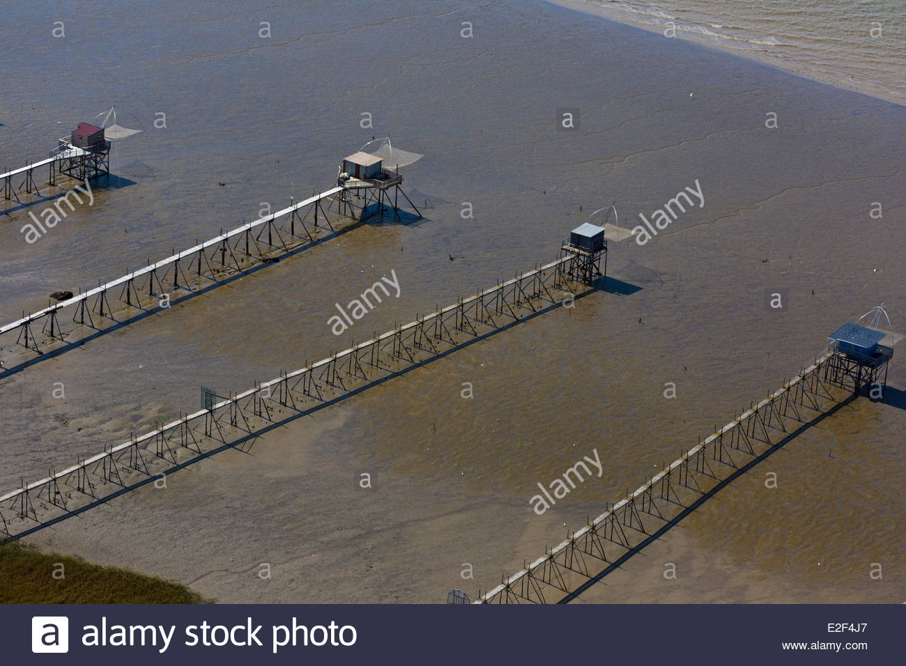 France, Loire Atlantique, Saint Brevin les Pins, Fishery, Squares on the estuary of the Loire (aerial view) Stock Photo