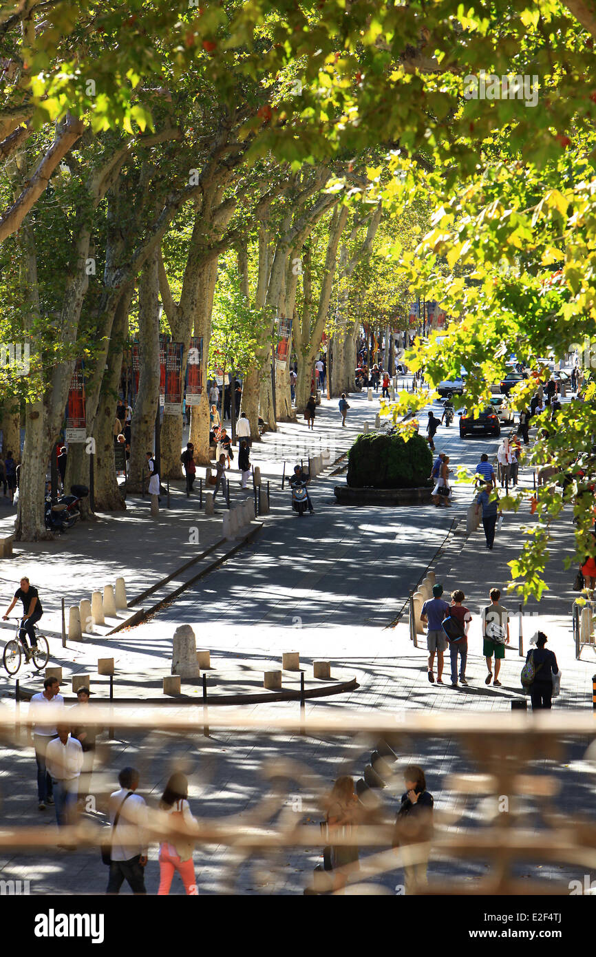 France, Bouches du Rhone, Aix en Provence, Cours Mirabeau - Stock Image