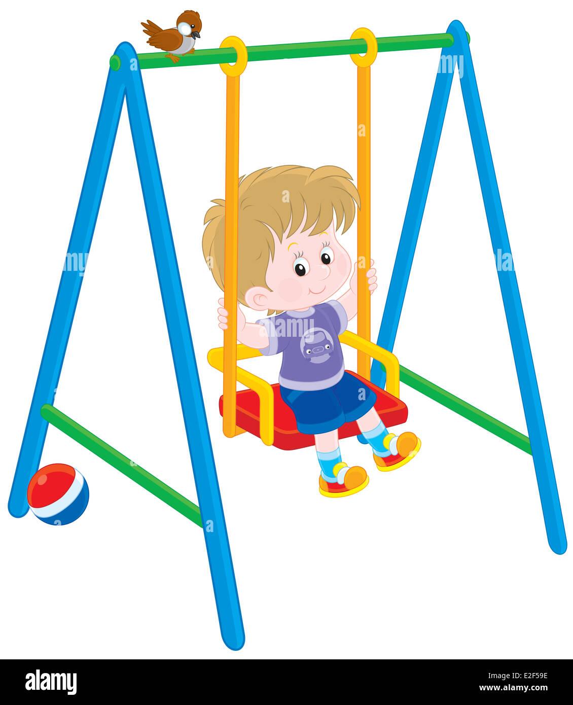 Boy on a swing - Stock Image