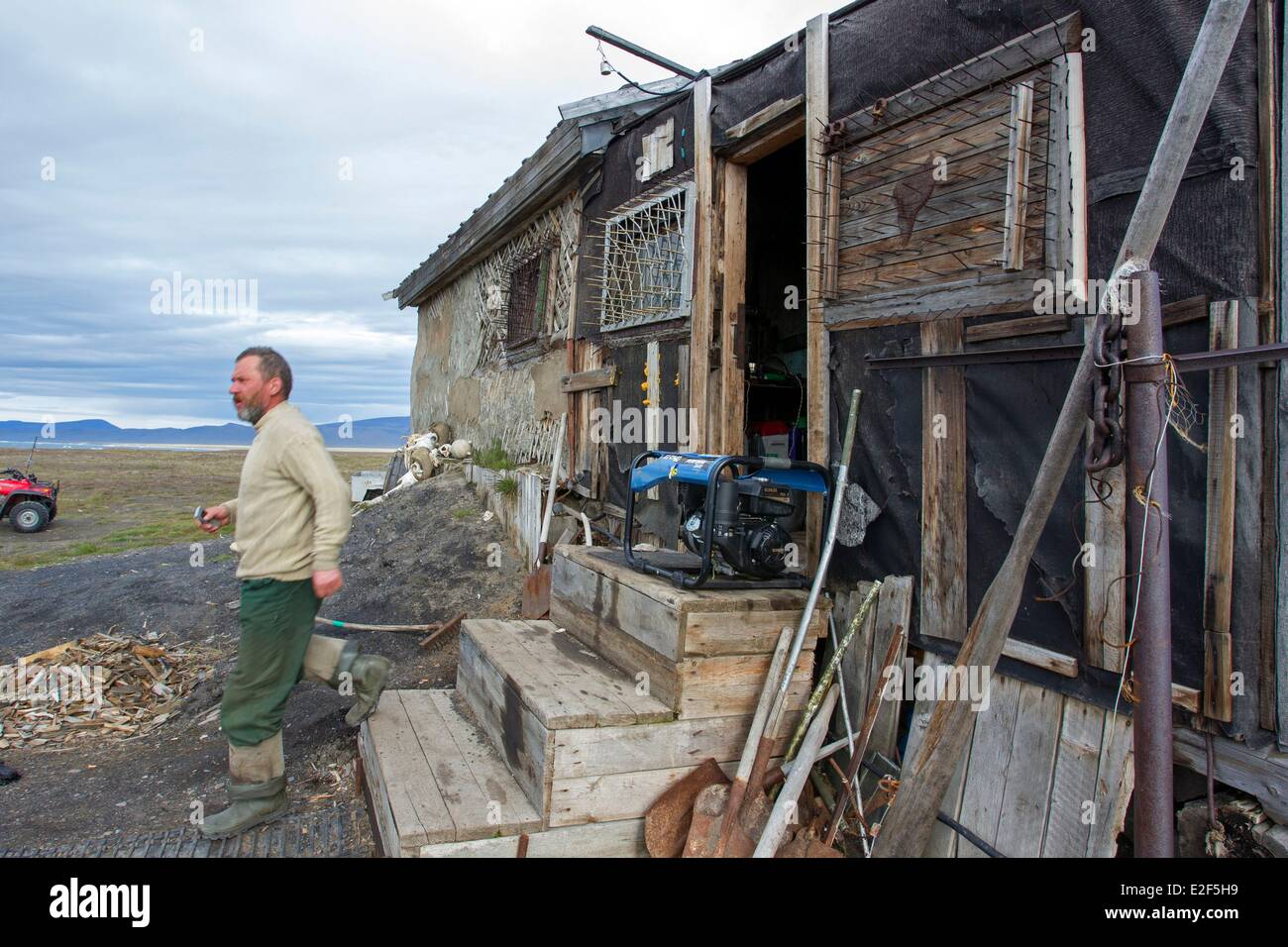 Russia, Chukotka autonomous district, Wrangel island, house of the researcher called Harza Stock Photo