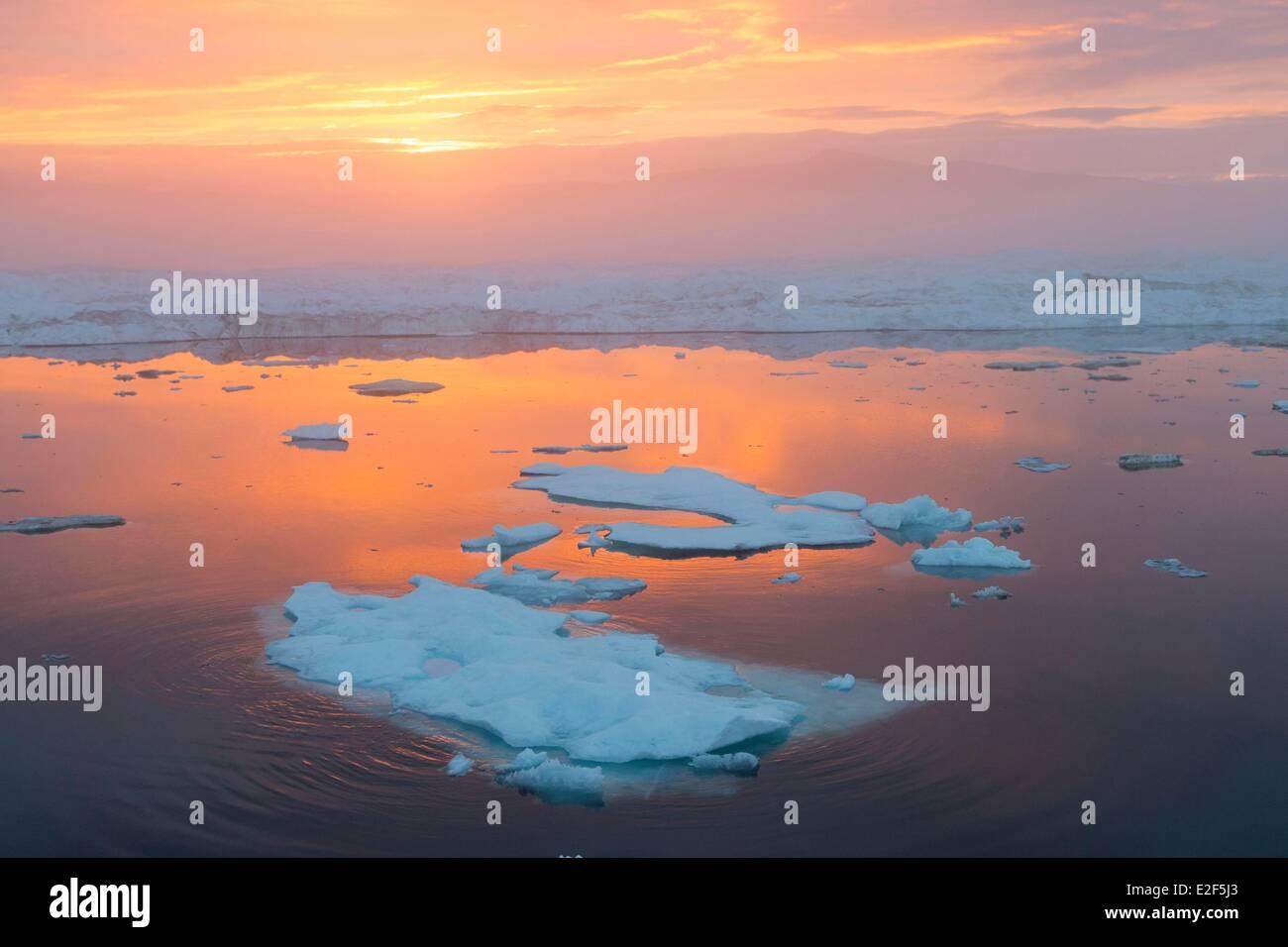 Russia, Chukotka autonomous district, Wrangel island, Pack ice at sunset Stock Photo
