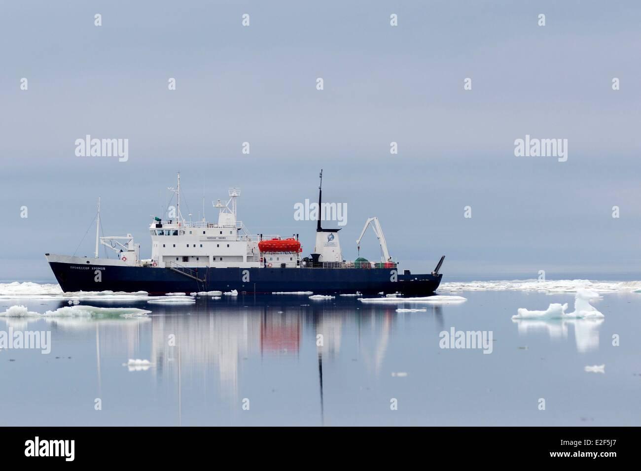 Russia, Chukotka autonomous district, Wrangel island, Pack ice, Spirit of Enderby, Professor Khromov Stock Photo