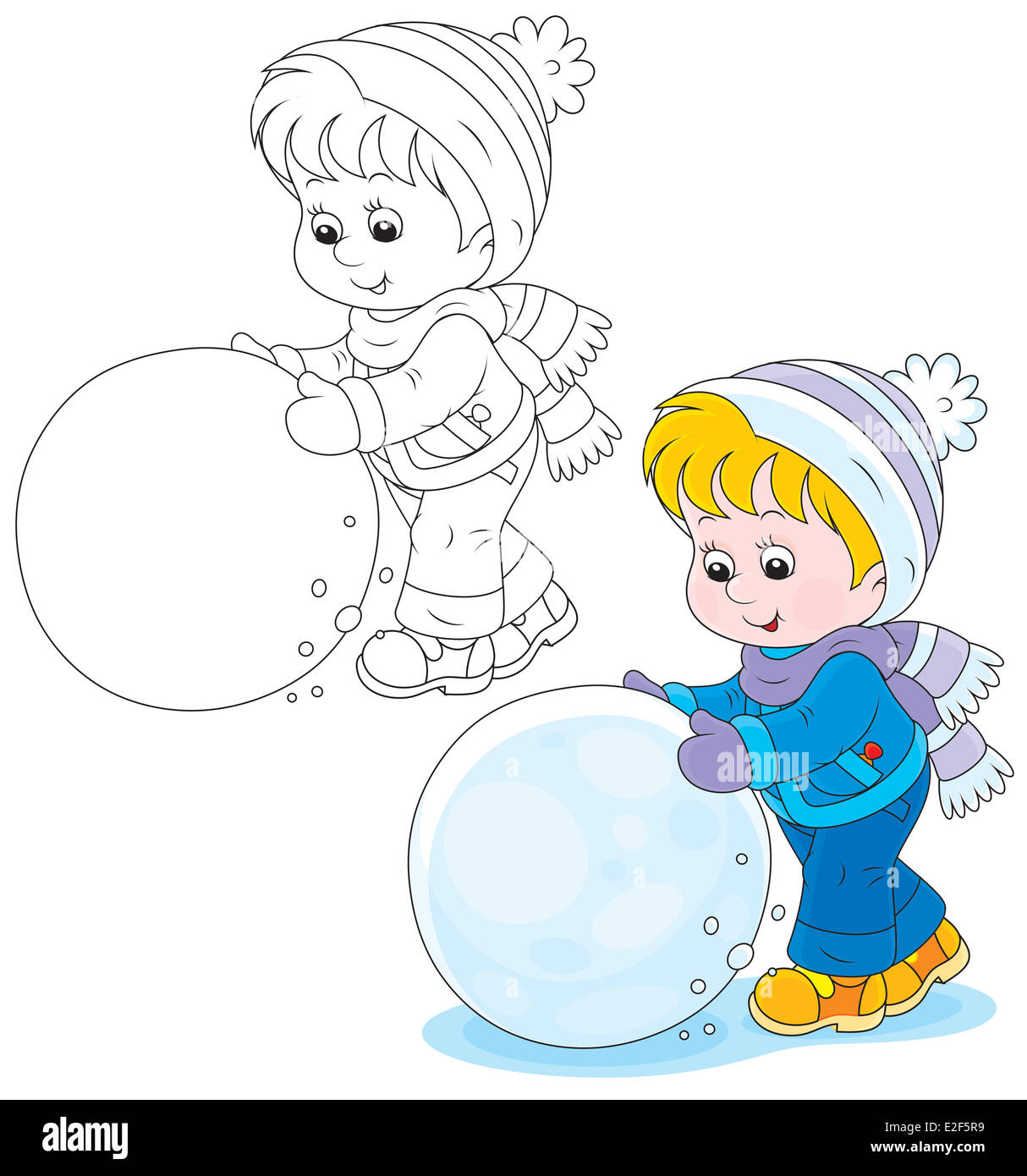 Child with a snowball - Stock Image