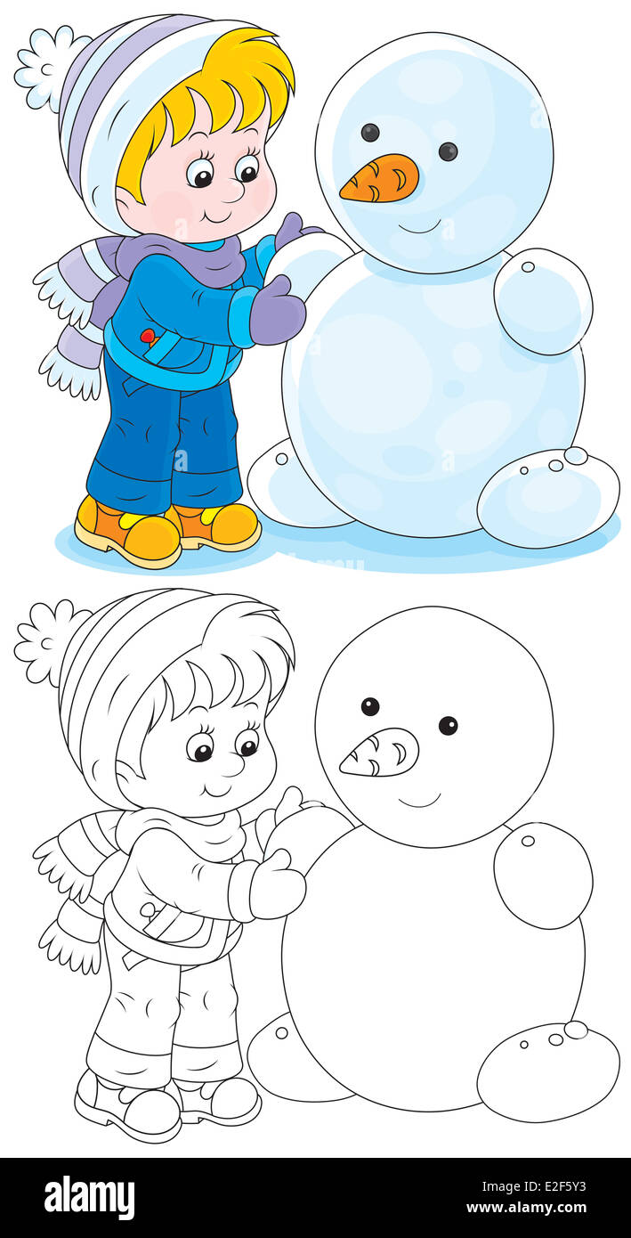 Child makes a snowman - Stock Image
