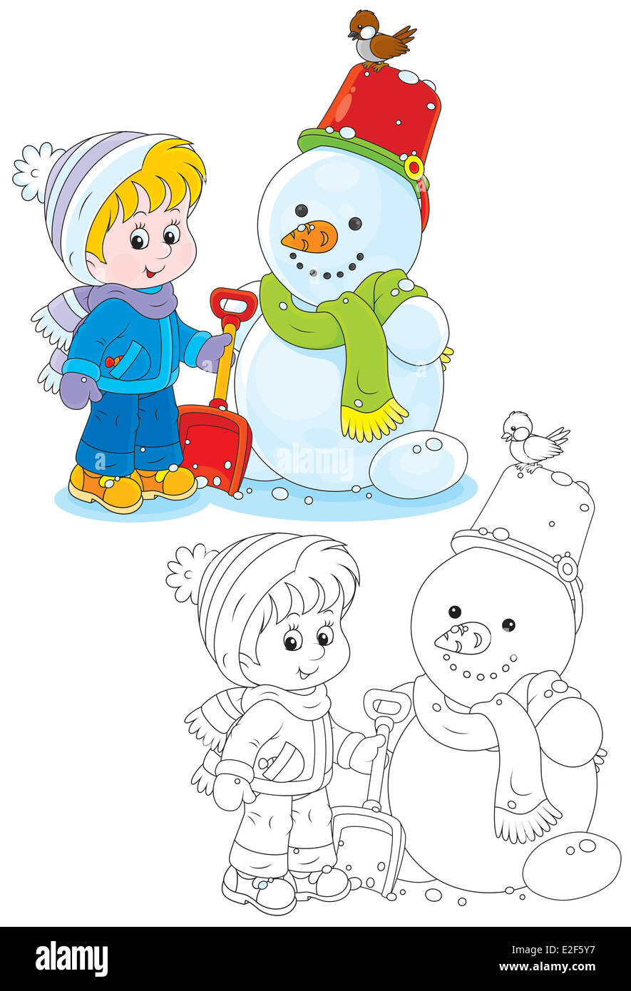 Child and snowman - Stock Image