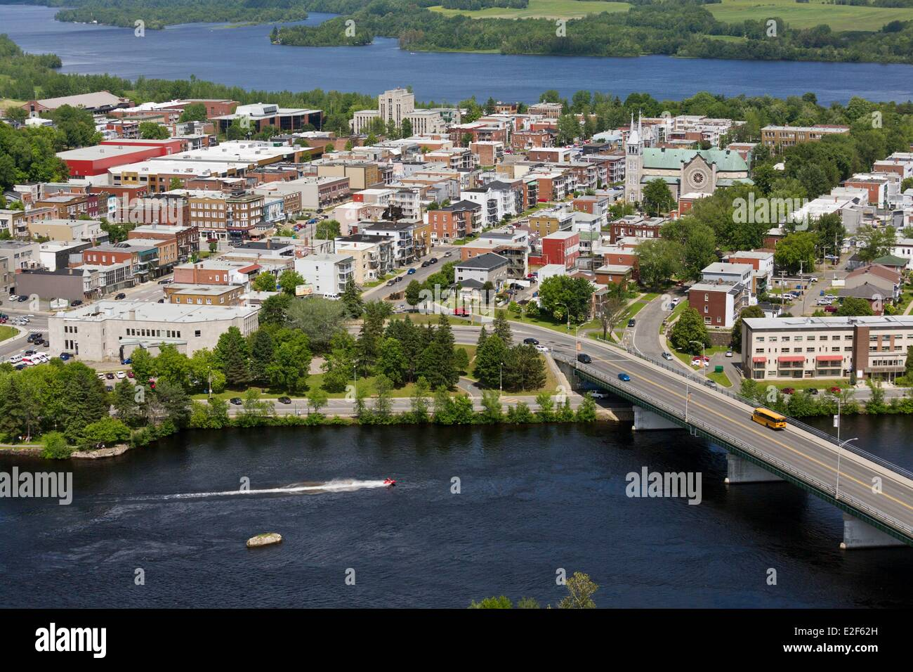 Canada, Quebec, Mauricie, Shawinigan city (aerial view) Stock Photo