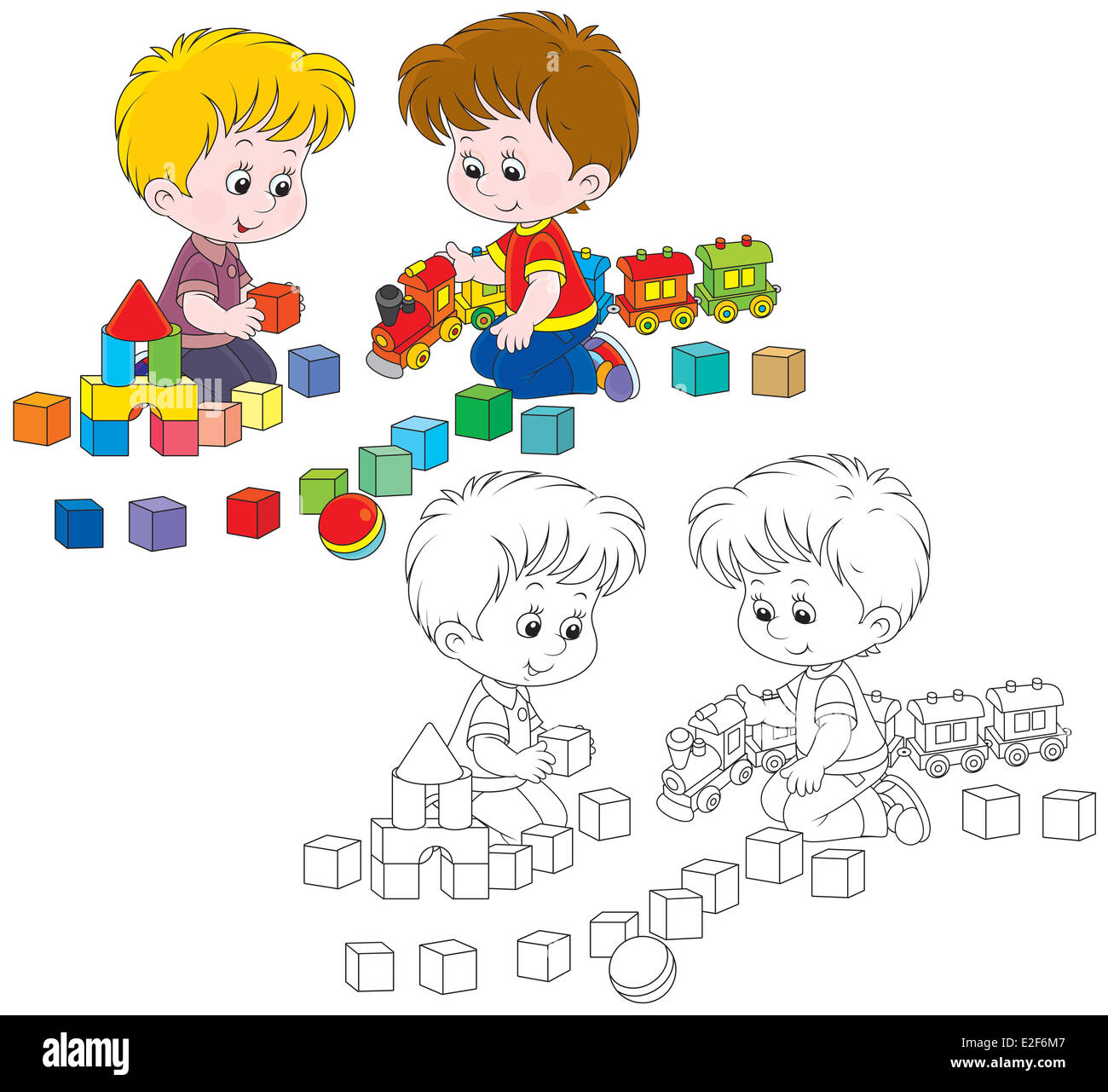 Little boys play with a toy train and bricks - Stock Image