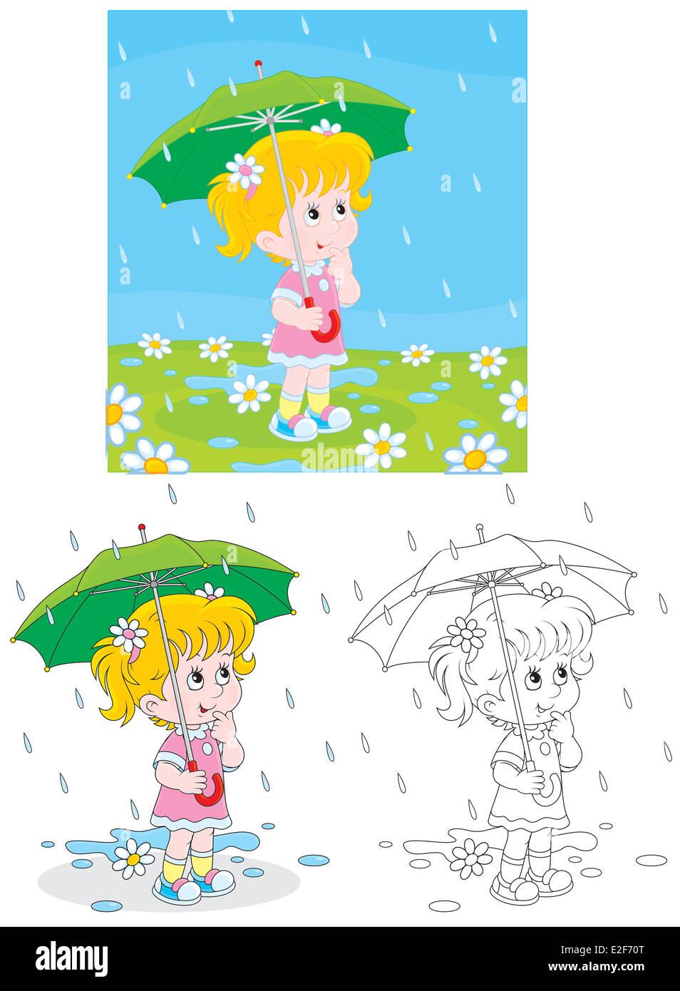 Little girl with an umbrella under rain - Stock Image