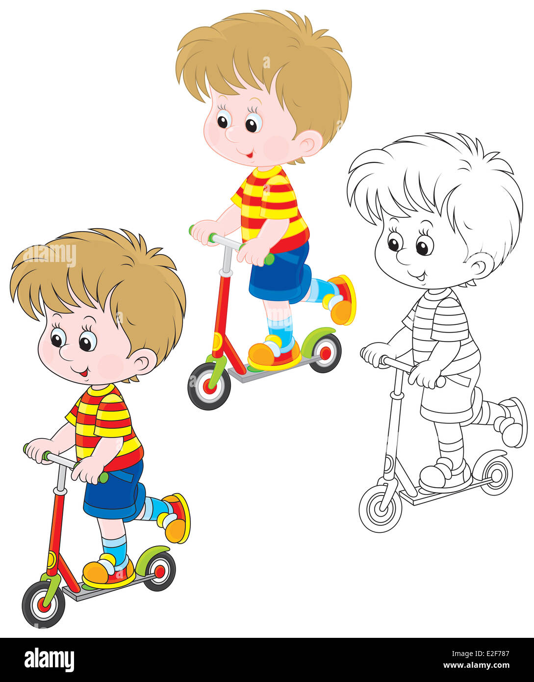 Little boy riding on a scooter - Stock Image