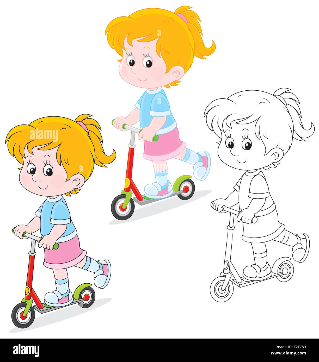 Girl scooterist - Stock Image