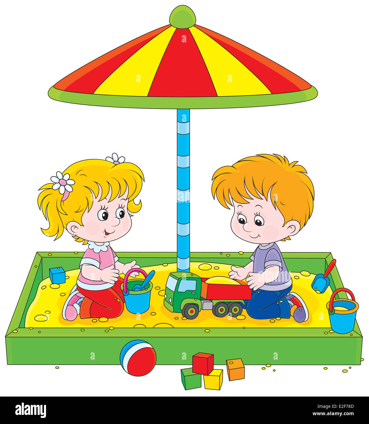 Little girl and boy playing in a sandpit on a children playground - Stock Image