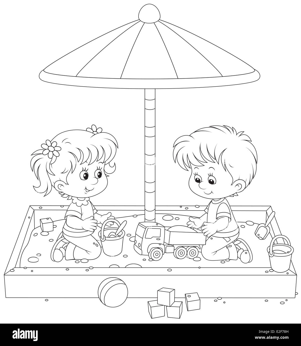 Children play in a sandbox - Stock Image