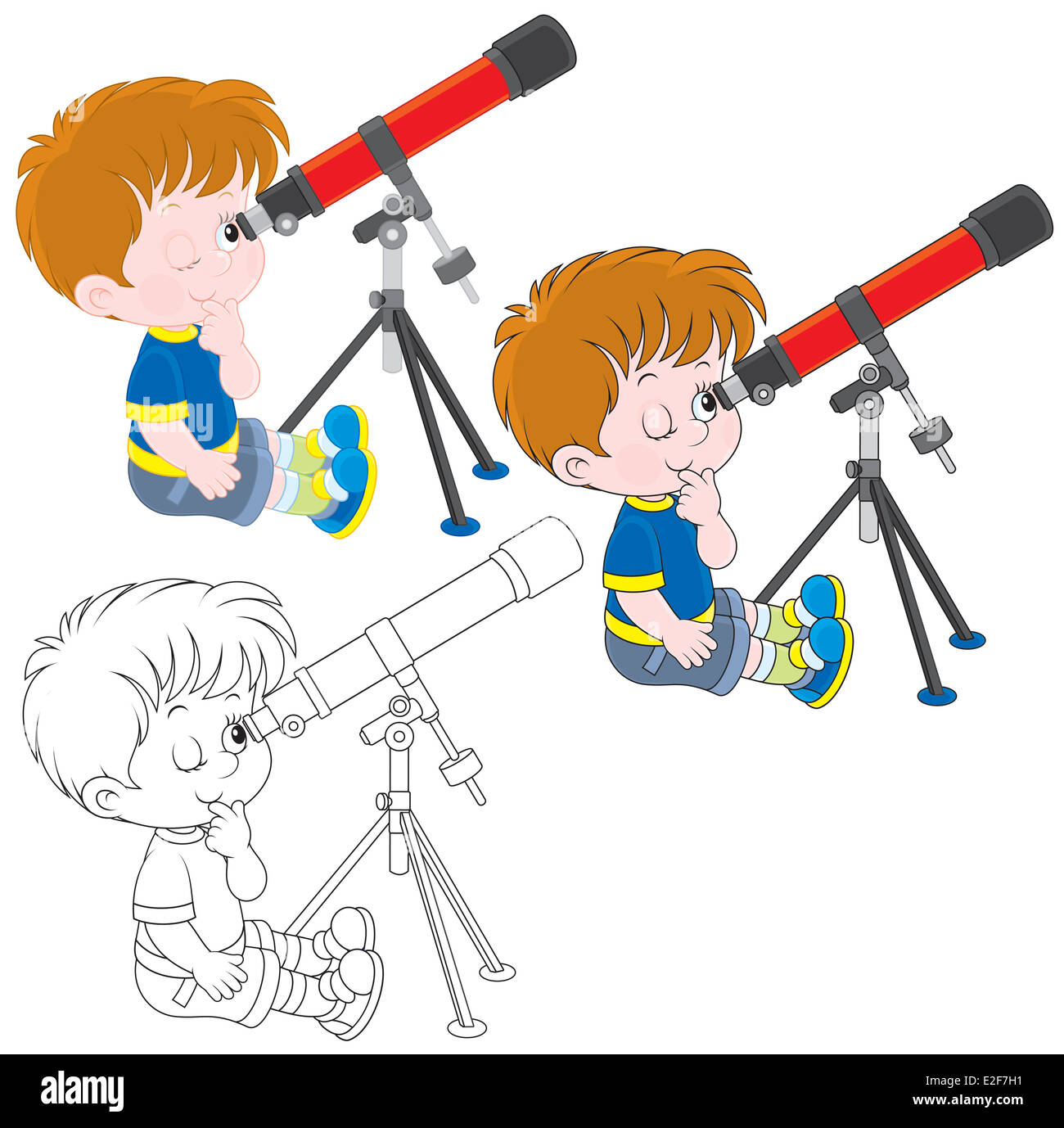 Little astronomer - Stock Image