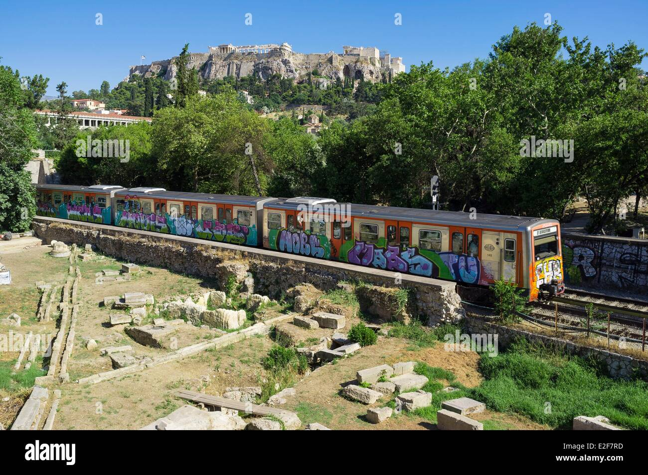 Greece, Athens, the metro in Monastiraki district, Acropolis in the backgroundStock Photo