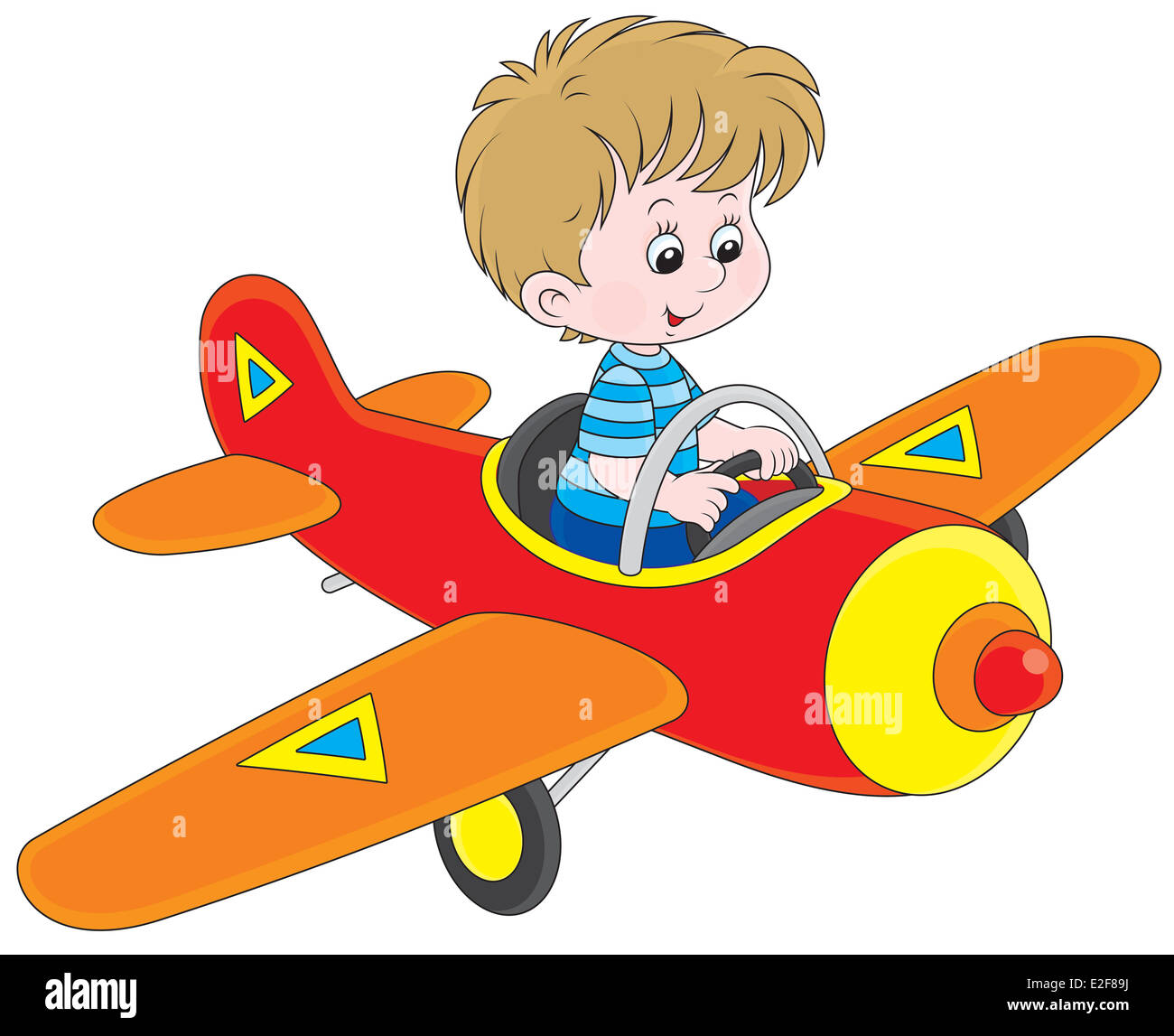 Little boy flying in a toy plane - Stock Image