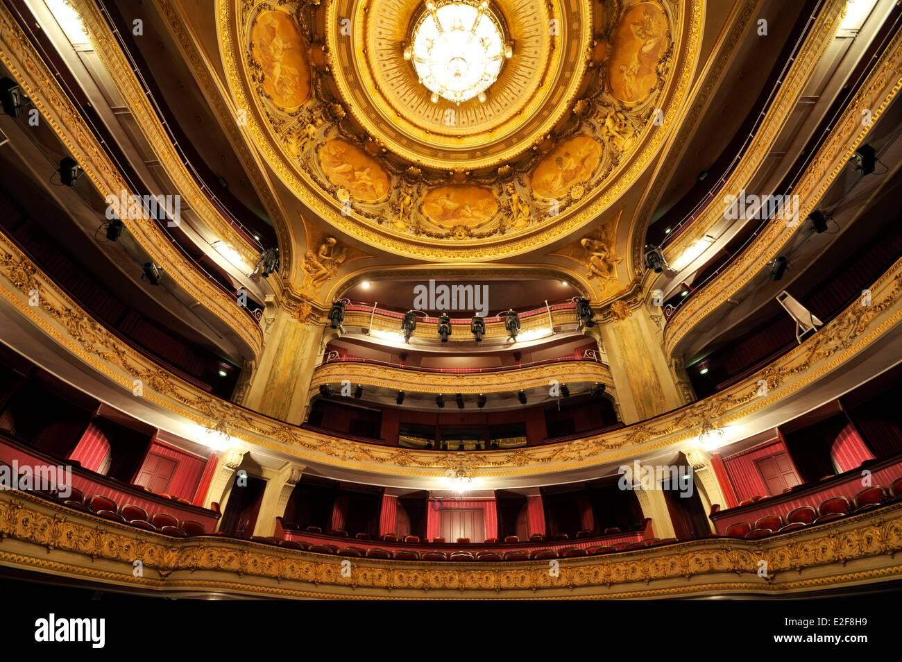 France Nord Lille Lille Opera the great room balconies and cupola ornated with eight medallions which include eight - Stock Image