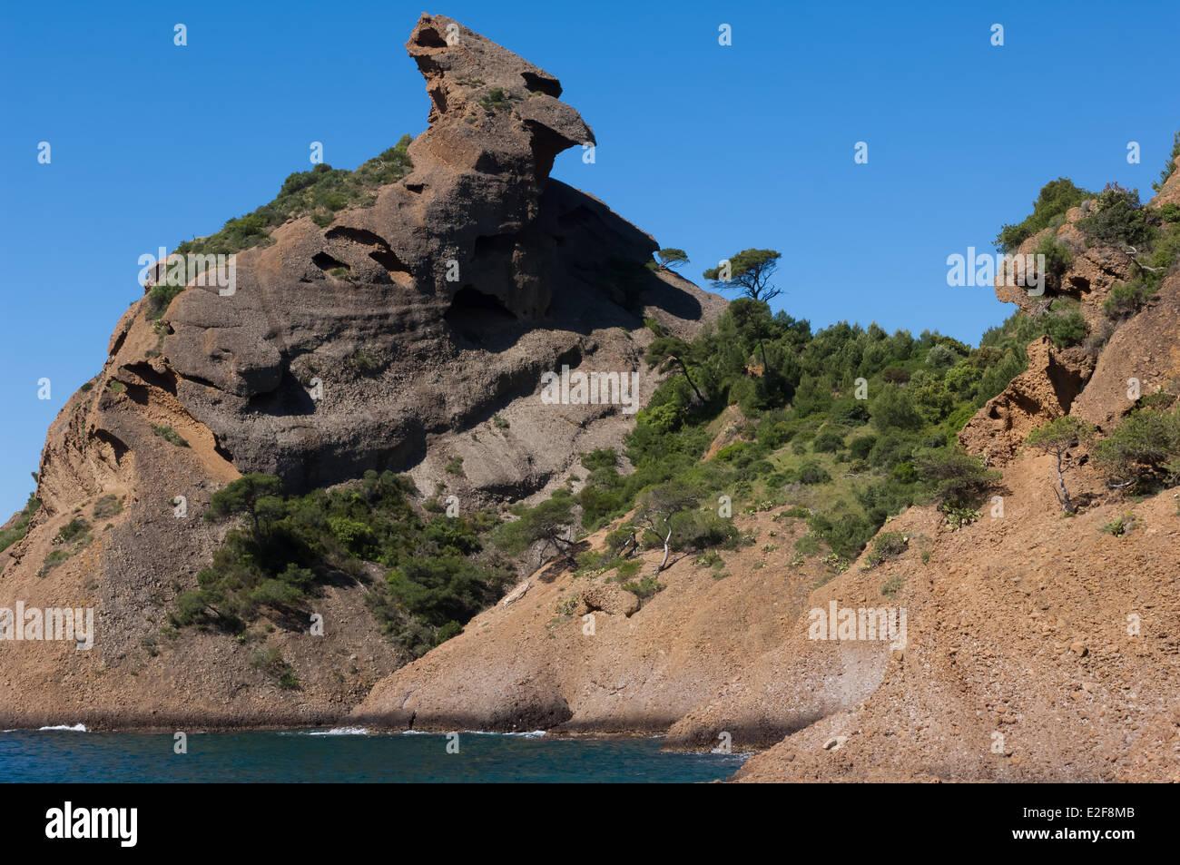 France, Bouches du Rhone, La Ciotat, the Figuerolles calanque, the Capucin rock formation - Stock Image