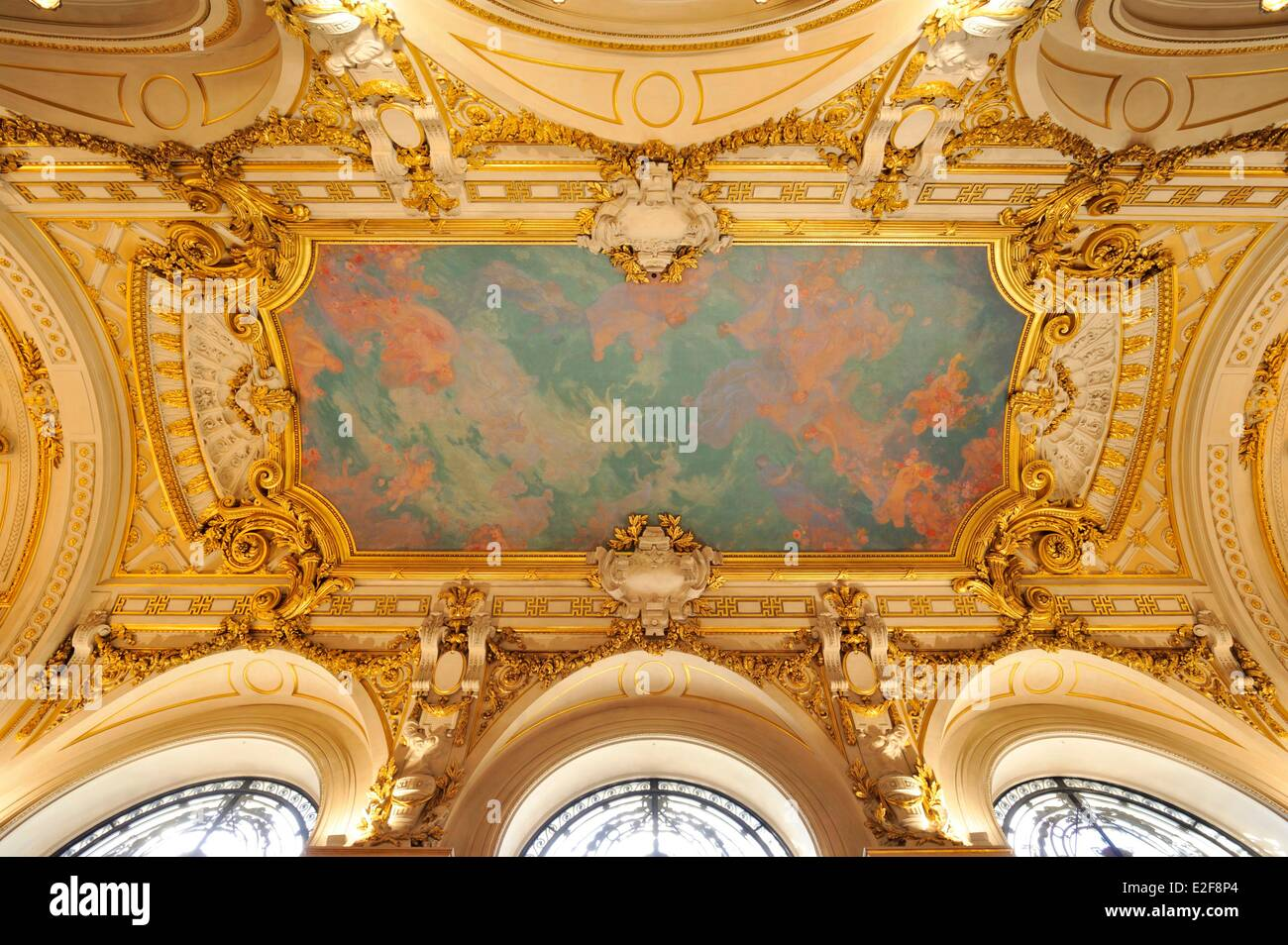 France, Nord, Lille, Lille Opera, the home, ceiling decorated with a painting - Stock Image