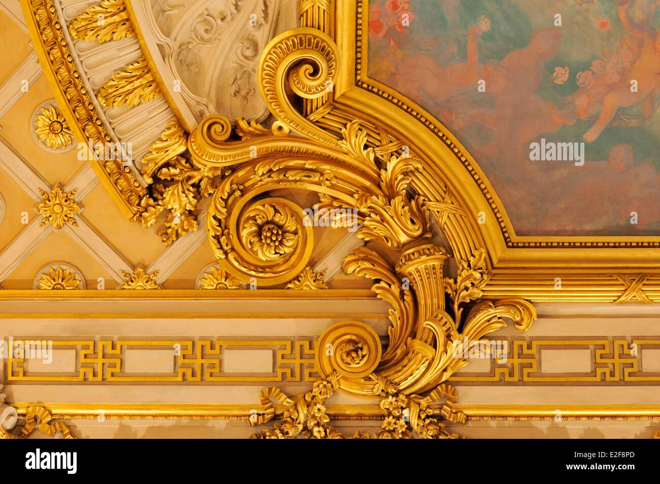 France Nord Lille Lille Opera the home ceiling decorated with a painting details of a sculpture in one of the corners - Stock Image