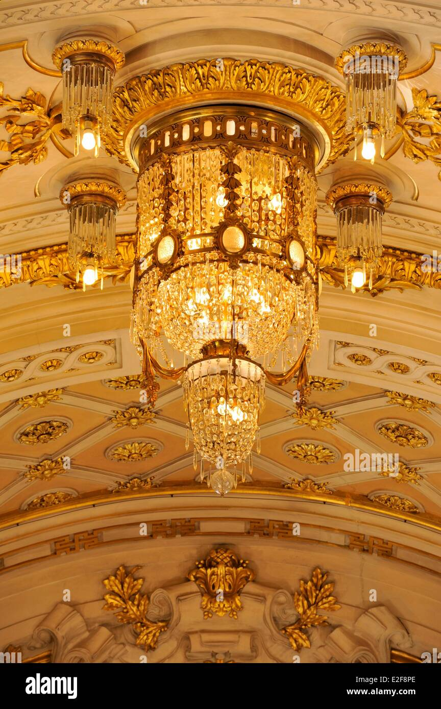 France, Nord, Lille, Lille Opera, the home, central chandelier at the ceiling - Stock Image