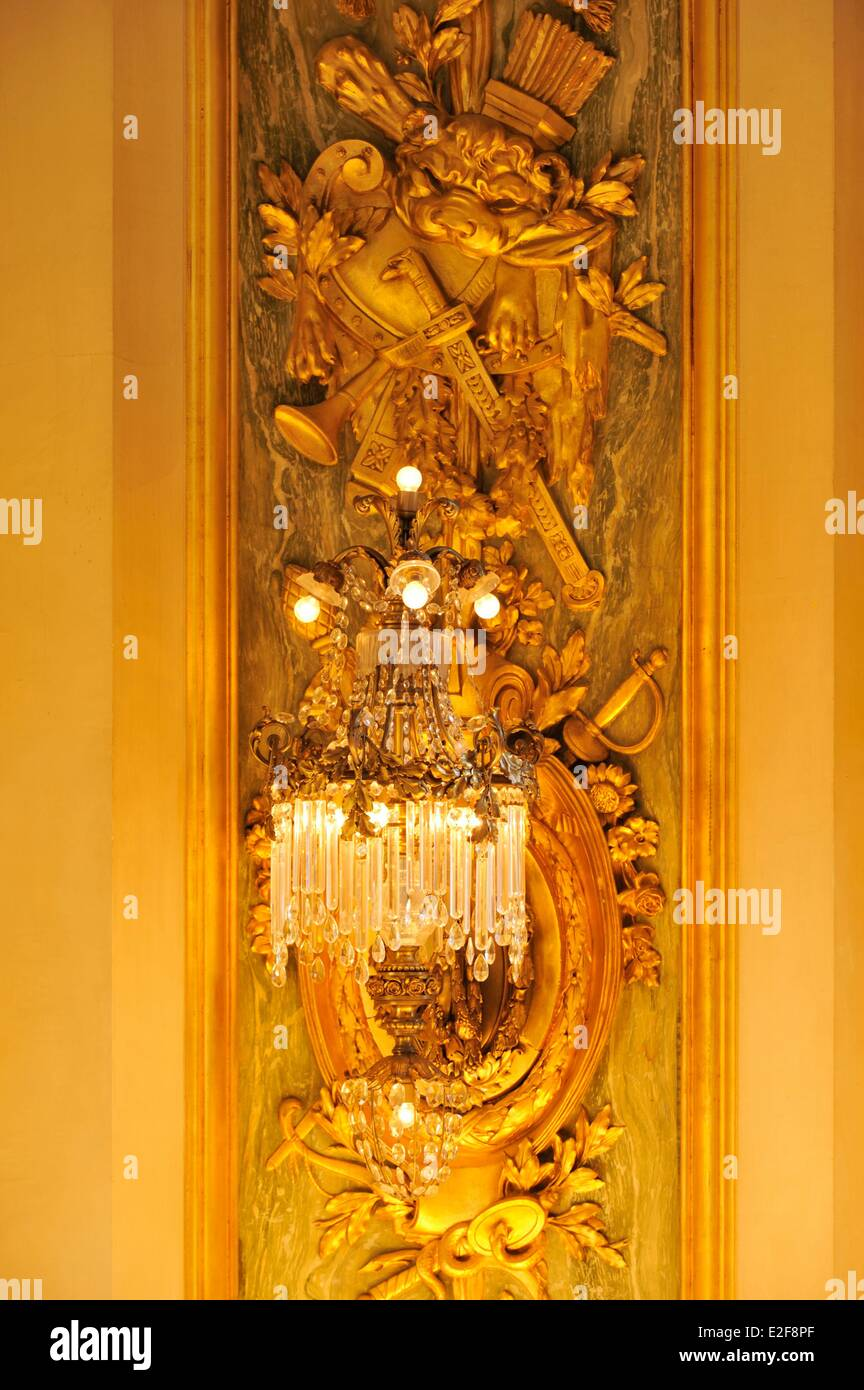 France, Nord, Lille, Lille Opera, the home, wall decoration and its lighting - Stock Image