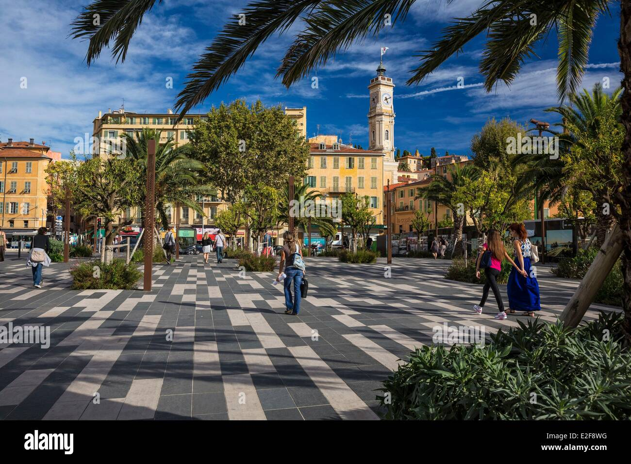 France Alpes Maritimes Nice old town the clock tower of the former convent of St Francis' minor friars and the - Stock Image