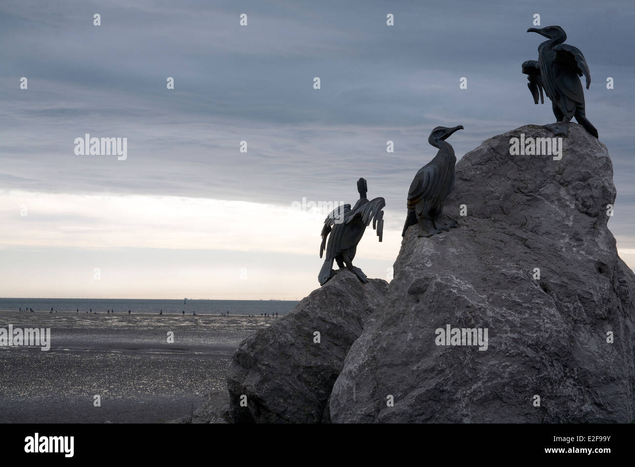 Statues that form part of the TERN project on stones overlooking Morecambe Bay, Lancashire, England, UK - Stock Image
