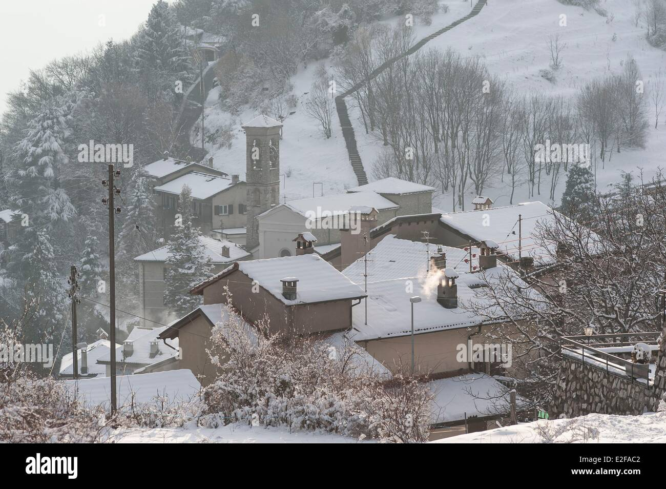 Switzerland, Ticino, Lugano, Bre vilage after a snowfall in February Stock Photo