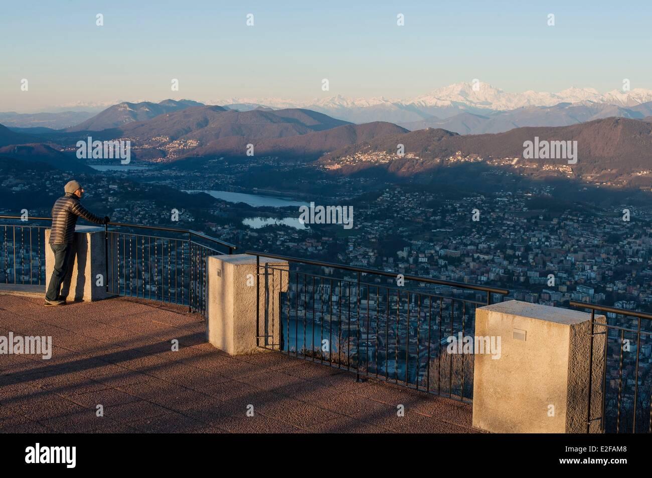 Switzerland, Ticino, Lugano, Monte Bre, view of Lugano Stock Photo