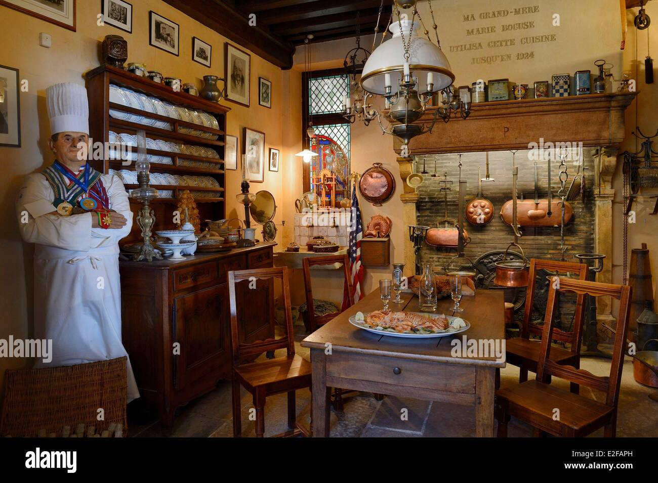 France Rhone Collonges au Mont d'Or Paul Bocuse Restaurant L'abbaye de Collonges dedicated to receptions - Stock Image