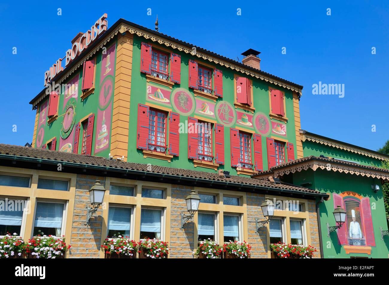 France, Rhone, Collonges au Mont d'Or, Paul Bocuse Restaurant L'Auberge du Pont de Collonges, three Michelin stars Stock Photo