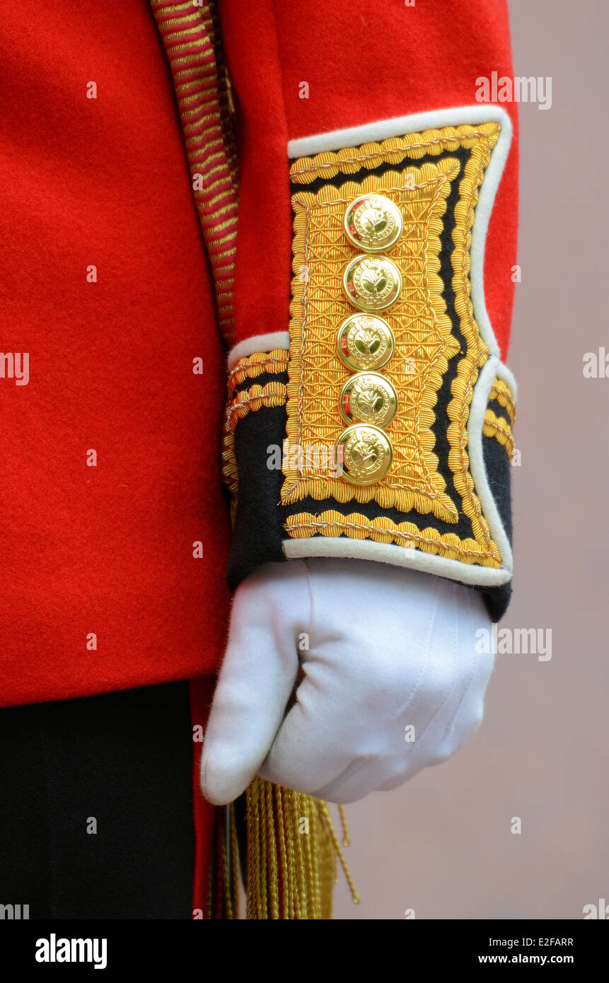 Cuff details of the dress uniform of a guardsman of the British Army during the Trooping of the Colour ceremony - Stock Image