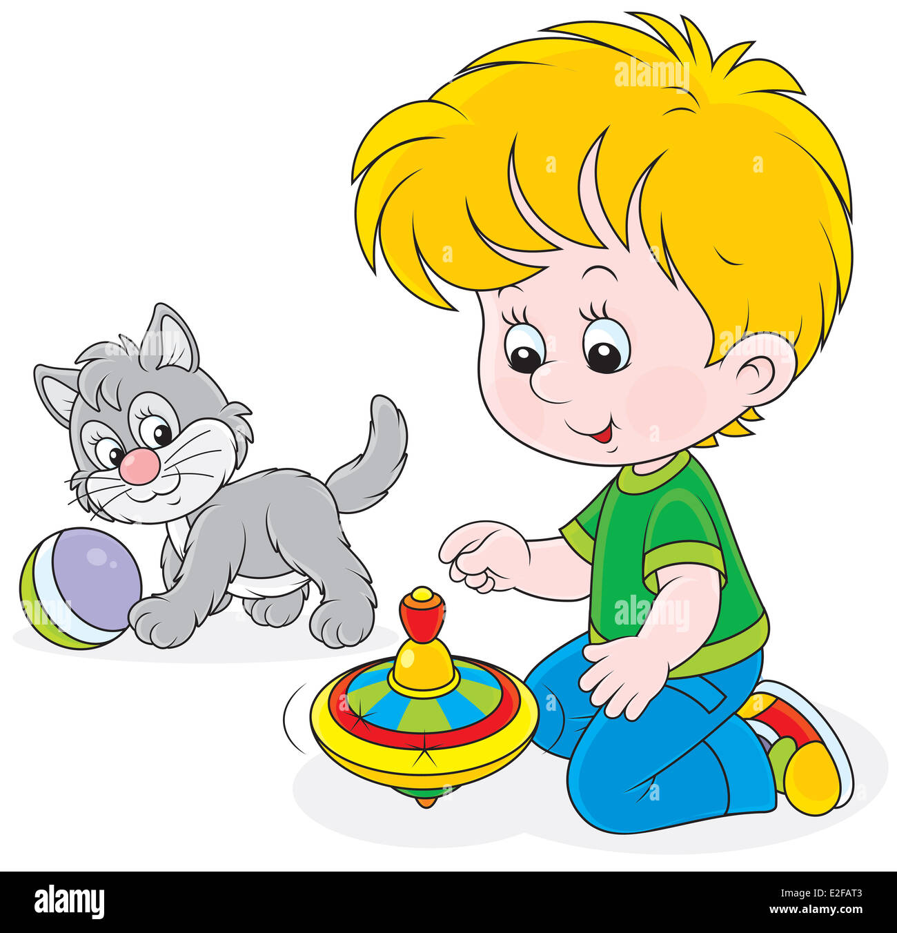 Little boy playing with a grey kitten and a humming-top - Stock Image